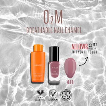 O2M BREATHABLE NAIL ENAMEL 411 + TRAVEL SIZE NAIL REMOVER icon